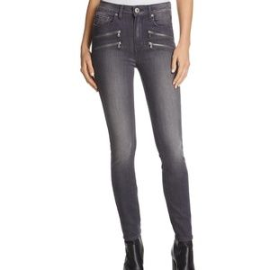 PAIGE High Rise Edgemont Gray Wash Moto Style Jean